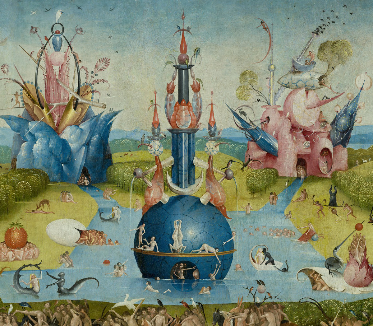 Jheronimus Bosch: Garden of Earthly Delights - central panel (fountain)