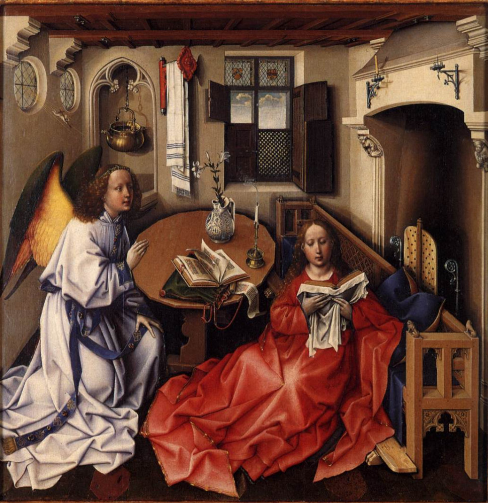 Robert Campin: Merode altarpiece - Annunciation