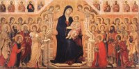 Duccio di Buoninsegna: Mary with Child, Angels and Saints (Maestà)