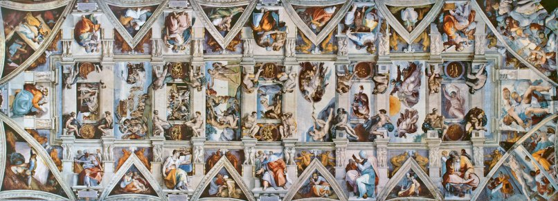 the Sistine Chapel ceiling, showing several scenes from Genesis