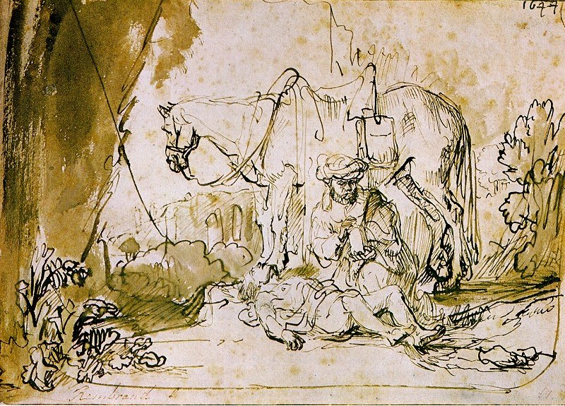 Rembrandt Harmensz. van Rijn: The Good Samaritan Tends the Wounded Man