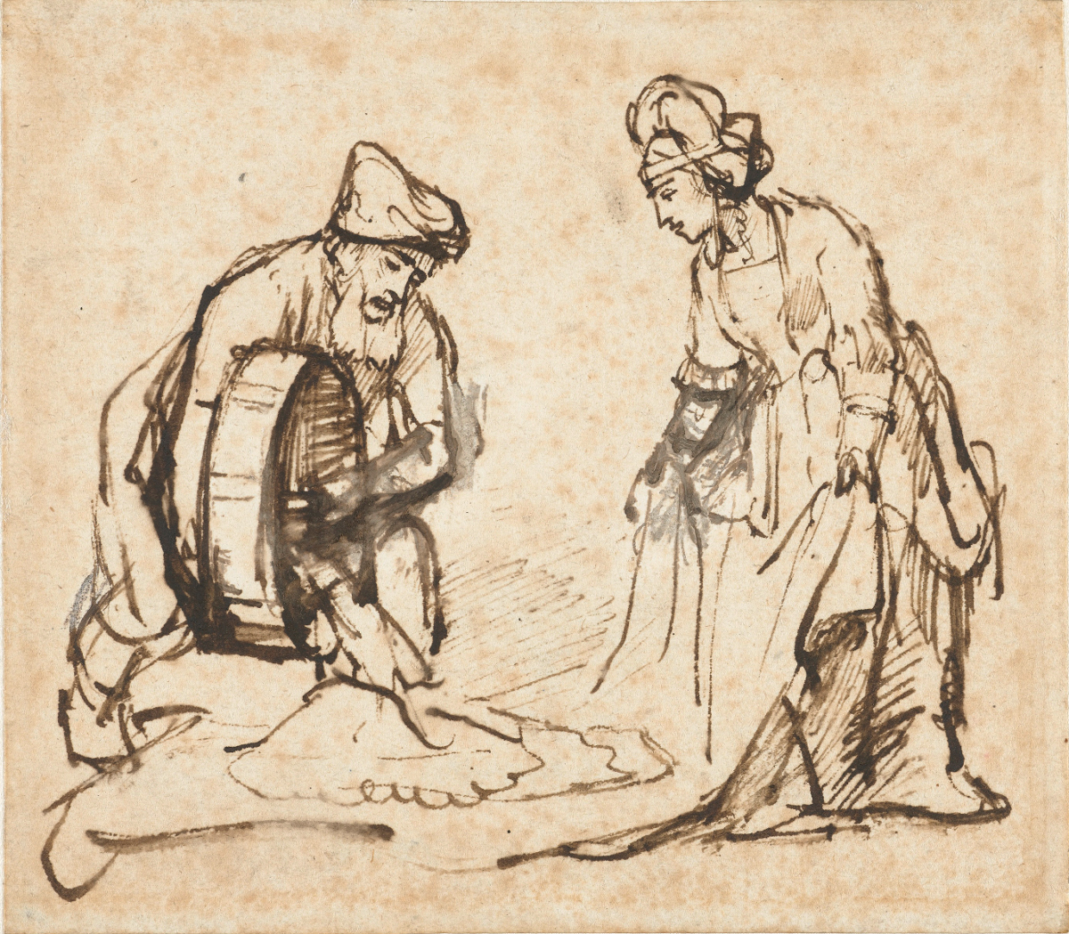 Rembrandt Harmensz. van Rijn: Boaz pouring Six Measures of Barley into Ruth's veil