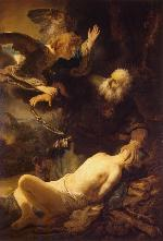 painting by Rembrandt: the angel intervenes