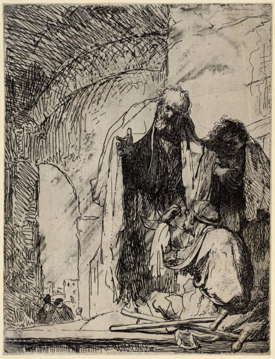 Rembrandt Harmensz. van Rijn: Peter and John at the Temple Gate