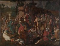 Lucas van Leyden: Moses and the Israelites use water from the rock