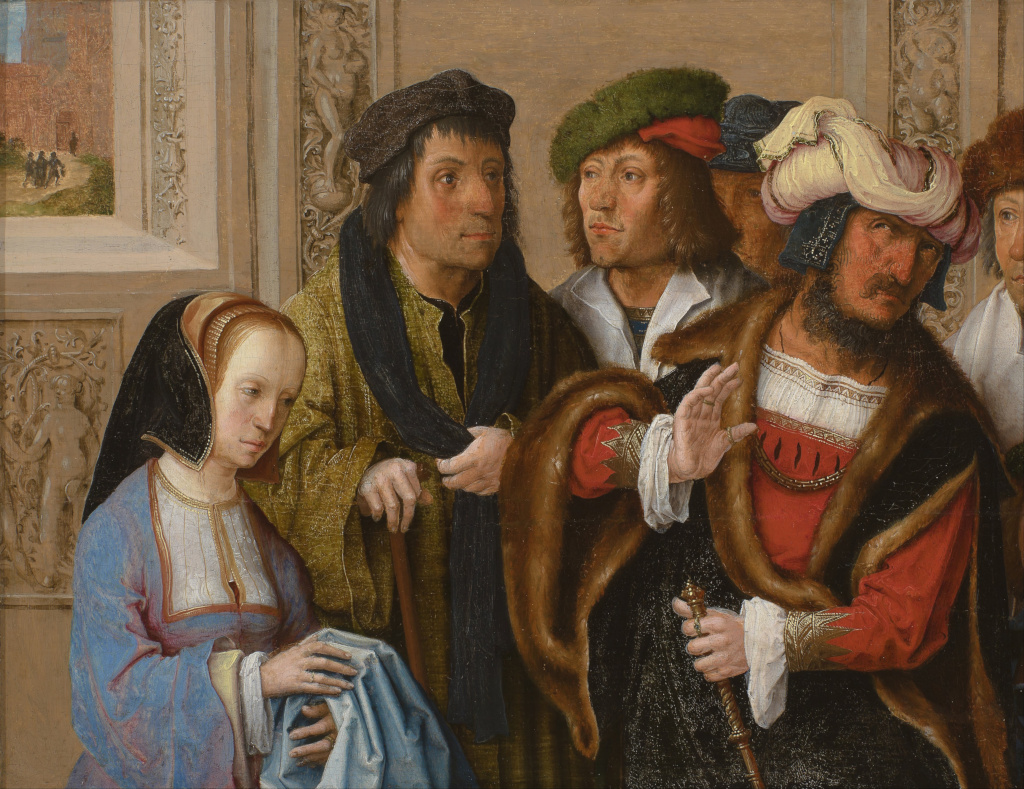 Lucas van Leyden: Potifar's wife shows Joseph's gown to her husband