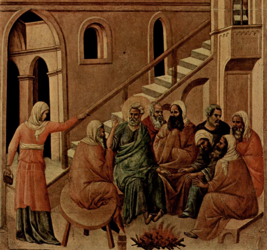 Duccio di Buoninsegna: Peter Denying Christ (Maestà)
