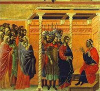 Duccio di Buoninsegna: Christ before Pilate (Maestà)