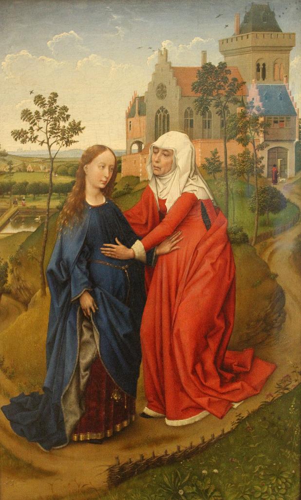 Rogier van der Weyden (1399-1464): Marias gjesting hos Elisabeth (1443), Museum der bildenen Künste i Leipzig