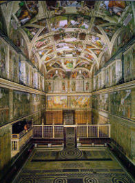 inside the Sistine Chapel, facing the entrance