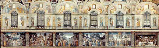 Northern wall of the Sistine Chapel with scenes from the life of Jesus.
