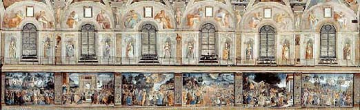 Southern wall of the Sistine Chapel showing scenes from Moses' life.